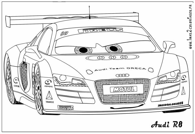 Free coloring and drawings Audi R8 racing Coloring page