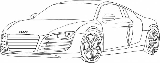 Free coloring and drawings Audi R8 to cut Coloring page