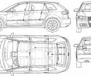 Coloring pages Audi technical drawing