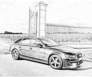 Coloring pages Realistic black and white Audi