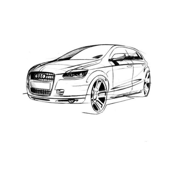 Free coloring and drawings Stylized Audi car Coloring page
