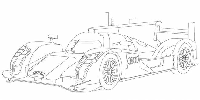 Free coloring and drawings Stylized Audi R10 Coloring page