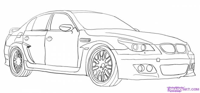 Free coloring and drawings A BMW car Coloring page