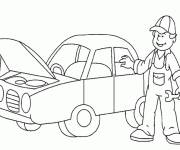 Free coloring and drawings Automobile at mechanic's garage Coloring page