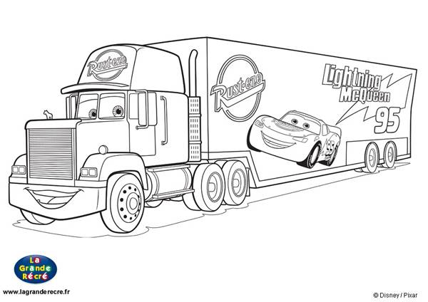 Free coloring and drawings Mack Disney Truck to print Coloring page