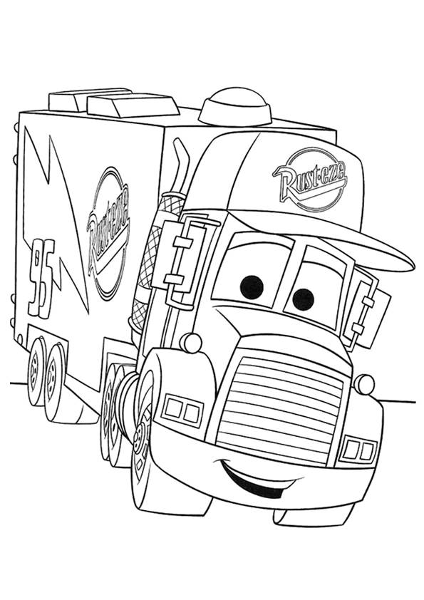 Free coloring and drawings Mark truck with face Coloring page