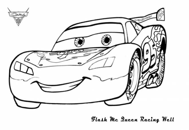 Free coloring and drawings The Smiling Flash Car Coloring page