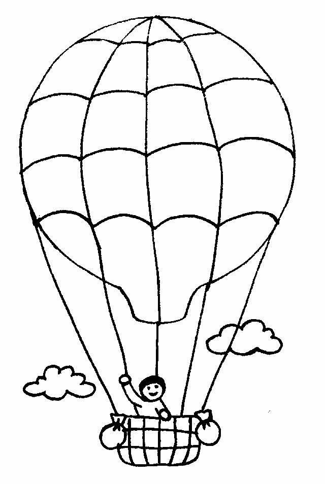 Free coloring and drawings A Boy on a Hot Air Balloon Coloring page