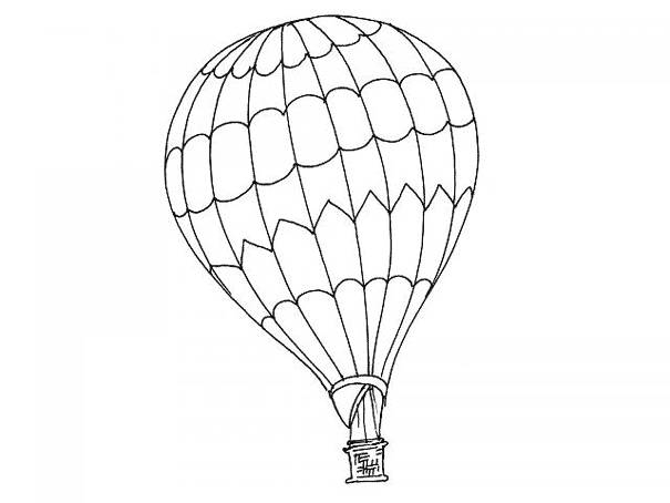 Free coloring and drawings A hot air balloon in black and white Coloring page