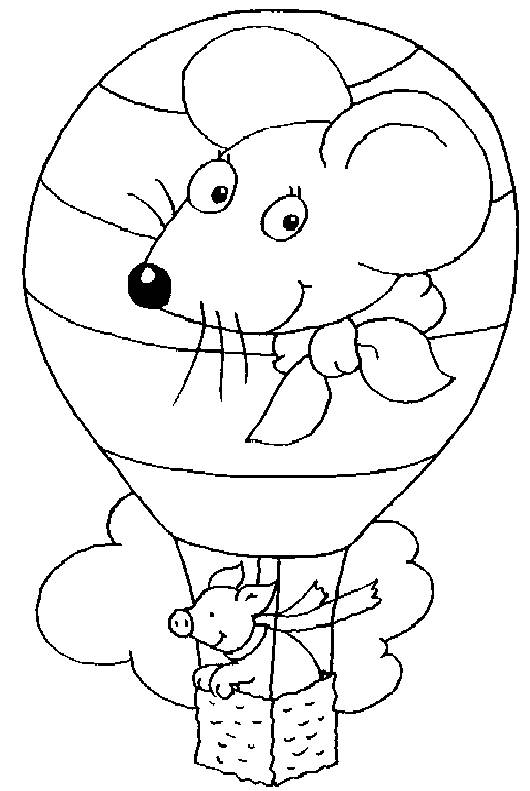 Free coloring and drawings A pig in a hot air balloon Coloring page