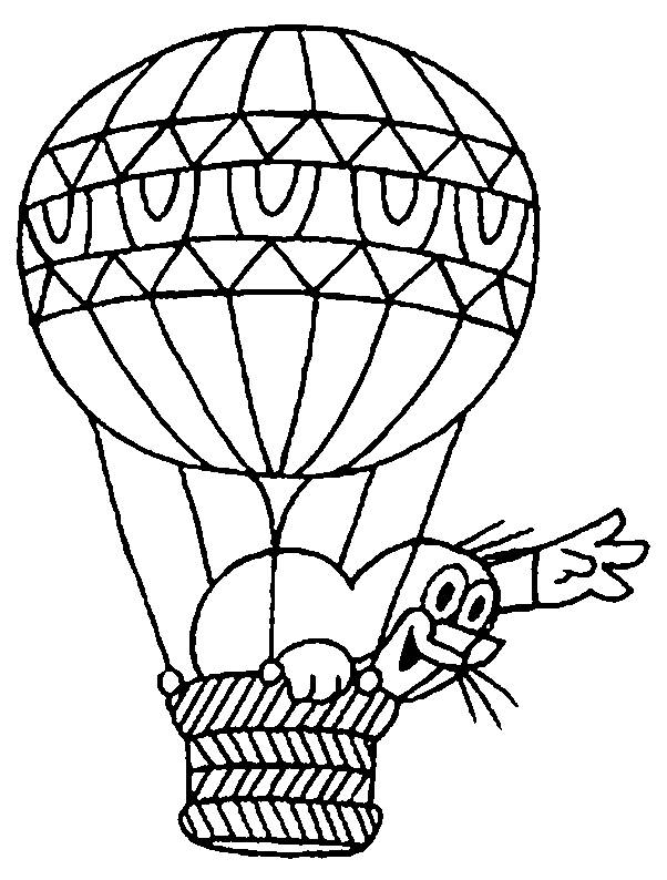 Free coloring and drawings Animal and hot air balloon for children Coloring page