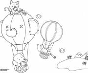 Coloring pages Animals in magical hot air balloons