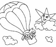 Coloring pages Children pilot The hot-air balloon