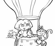 Coloring pages Dora and hot air balloon
