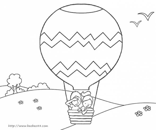 Free coloring and drawings Hot air balloon over the countryside Coloring page