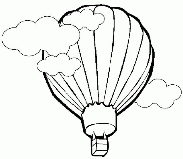 Free coloring and drawings Hot air balloon under the clouds Coloring page