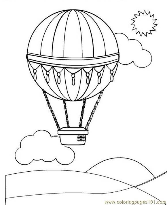 Free coloring and drawings Hot air balloon under the sun Coloring page