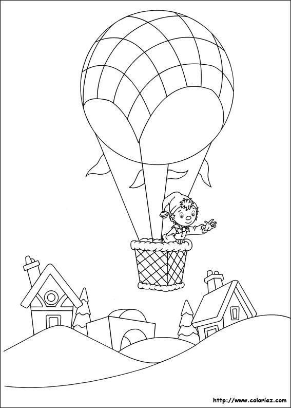 Free coloring and drawings Pinocchio in hot air balloon Coloring page