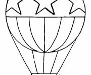 Free coloring and drawings Stylized hot air balloon decorated with stars Coloring page