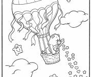 Free coloring and drawings The bear in Chinese hot air balloon Coloring page