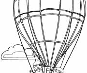 Free coloring and drawings The children in The hot-air balloon greet you Coloring page