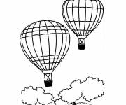 Coloring pages Two hot air balloons in the sky