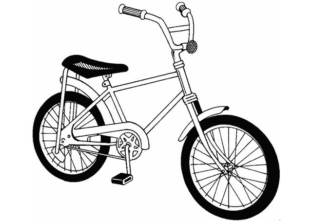 Free coloring and drawings A Children's Bicycle Coloring page