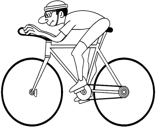 Free coloring and drawings A Cyclist during a Tour Coloring page