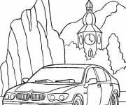 Coloring pages BMW car in the wild