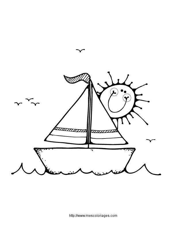 Free coloring and drawings A beautiful boat in nature Coloring page