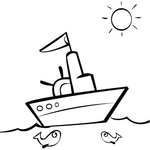 Free coloring and drawings A landscape of a fishing boat in the sea Coloring page