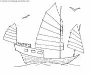 Coloring pages A wooden boat traveling