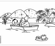 Coloring pages Animals navigate their boat