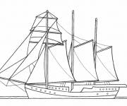 Coloring pages Antique sailing boat in line