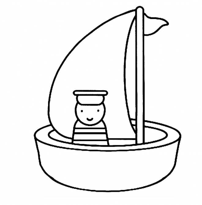 Free coloring and drawings Boat and sailor Coloring page