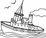 Coloring pages Boat sailing in water
