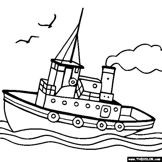 Free coloring and drawings Boat sailing in water Coloring page