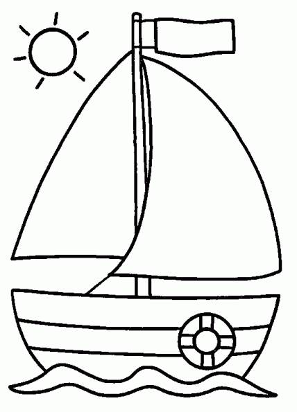 Free coloring and drawings Boat under the sun's rays Coloring page