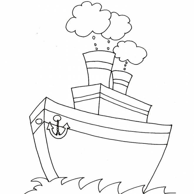 Free coloring and drawings Boat with four chimneys Coloring page
