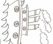 Coloring pages Boat with three chimneys in pencil