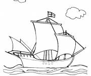 Free coloring and drawings English boat from the Middle Ages Coloring page