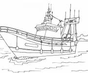 Free coloring and drawings Fishing boat in the water Coloring page