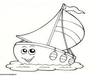Coloring pages Funny sailboat