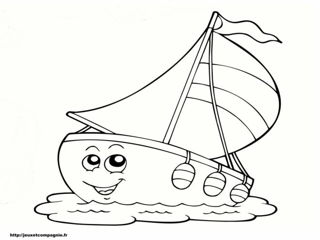 Free coloring and drawings Funny sailboat Coloring page