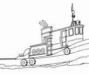 Coloring pages Small fishing boat in the sea