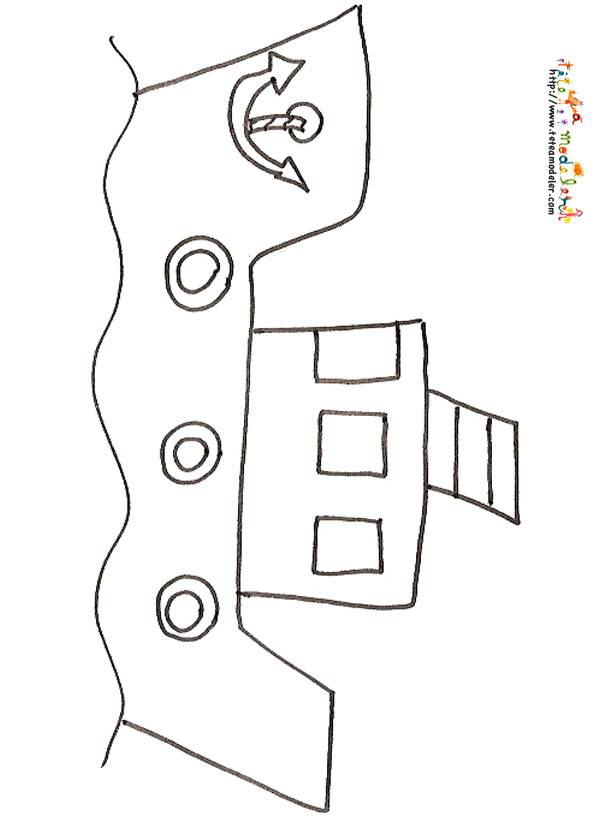 Free coloring and drawings Small pencil fishing boat Coloring page