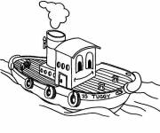 Coloring pages Smiling fishing boat