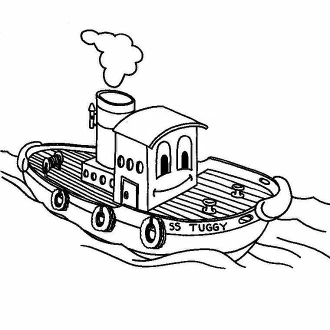 Free coloring and drawings Smiling fishing boat Coloring page