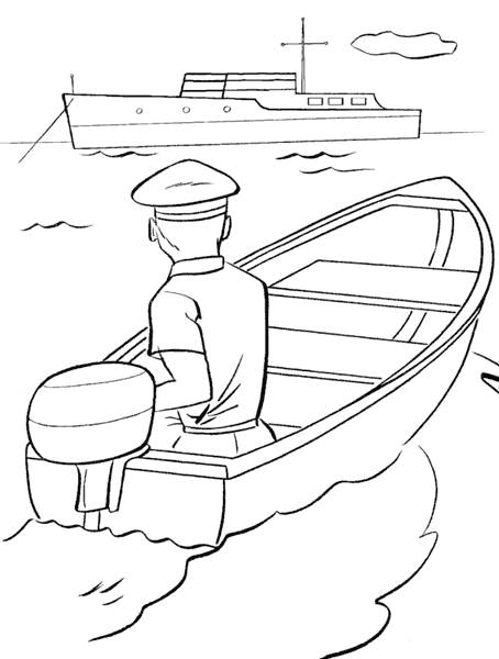 Free coloring and drawings The sailor sails his boat Coloring page