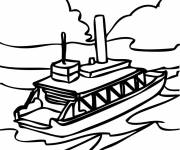 Coloring pages Transport boat on mission